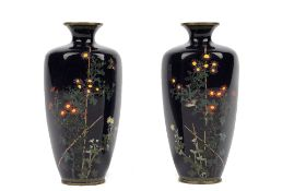 A small pair of Japanese cloisonné vases by Hayashi Chuzo, Meiji period,