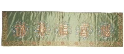 A Chinese embroidered green ground silk panel, circa 1900,