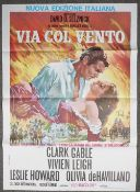 An Italian film poster 'Via Col Vento', Clarke Gable & Vivien Leigh, 140cm x 100cm, (folded).