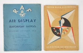 R.A.F. Baghdad, 1944 / Festival of Britain, 1951: two original souvenir programmes: R.A.F.