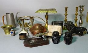 Metalware collectables including; brass candlesticks, copper kettle, pewter tankards and sundry.