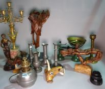 Collectables including balance scales, pewter candlesticks, root wood sculptures,