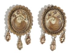 A pair of gold mourning earrings, second quarter of the 19th century,