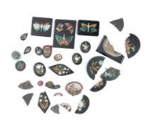 Three rectangular pietra dura plaques depicting butterflies,