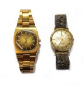 An Omega Automatic gilt and steel gentleman's bracelet wristwatch,