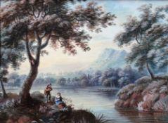 Dutch School (18th/19th century), River landscapes, a pair, gouache, each 13cm x 17.5cm.