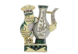 A Chinese biscuit famille-verte ewer, 19th century,