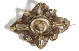 A gold and woven hairwork mourning brooch, first quarter of the 19th century,