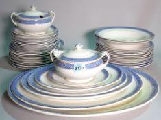 Allertons Ltd, a part dinner service with blue rim decoration.