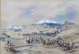 English School (19th Century), A military engagement, The King's Troop, watercolour and gouache,