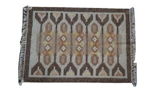 An Ingegerd Silow flatweave rug, the ivory field with bars of design in neutral colours,