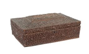 An Indian sandalwood rectangular sewing box, 19th century,