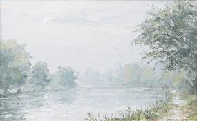 Brian Bennett (British b.1927), River scene oil on board, signed, 19.5cm x 31cm.