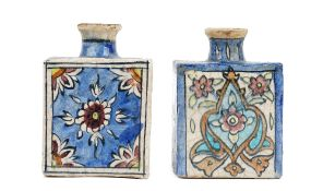 Two Qajar pottery square flasks, late 19th/early 20th century,
