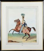 English School (19th/20th century), Mounted officer of the 10th Hussars, 1819, watercolour,