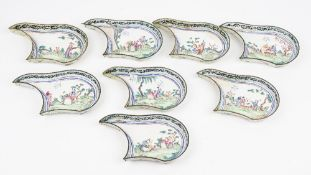 A set of eight Canton enamel famille-rose hors d'oeuvres dishes, 19th century,