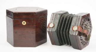 A 19th century rosewood case concertina, probably by Wheatstone and Co