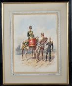Orlando Norie (Belgian, 1832-1901), A drum horse of the 10th Royal Hussars with bugler,