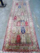 A silk Keyser prayer arch runner, Turkish,