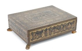 A Chinese export gilt and black lacquer games box, early 19th century,