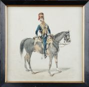 English School (19th century), 10th Light Dragoons: Officer wearing a tarleton on a scraggy horse,