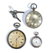A gold cased, key wind, openfaced pocket watch, with a gilt base metal inner case,