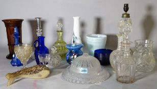 A quantity of 19th century and later cut glass, to include vases, glasses, decanters and sundry,