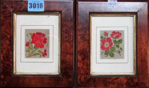 A group of nine assorted pictures, including a set of four Stevenographs of flowers,