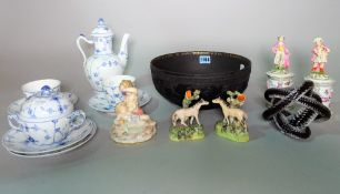 A small group of mixed ceramics, including a Wedgwood basalt bowl, a part Copenhagen coffee set,