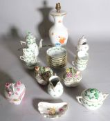 Ceramics, a Herend porcelain lamp base, 30cm high, three Herend pots, (a.f.