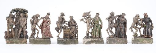 A set of six Zizenhausener terracotta figural groups, early 19th,
