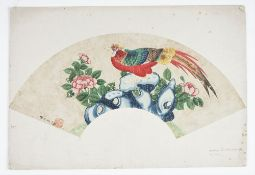 A Chinese fan painting, Qing dynasty, watercolour on card,