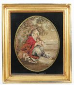 A Regency woodwork picture on silk, depicting mother and child against a landscape,