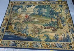 A tapestry wall panel depicting riders in a landscape with dogs, 165cm x 206cm.