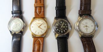 A Longines gilt metal fronted and steel backed gentleman's wristwatch,
