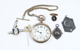A gentleman's gilt metal cased, keyless wind, openfaced pocket watch,