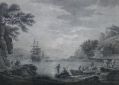 After Richard Wilson, Ceyx and Alcyone; After Vernet, A Calm, two engravings, the larger 46.