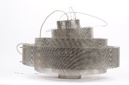 A 1950s style wire mesh ceiling light, of concentric circlet form with chrome ceiling mount,