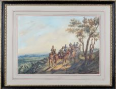 Orlando Norie (Belgian, 1832-1901), The 10th Hussars on a path, watercolour over pencil,