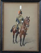 Richard Simkin (British 1850-1926), A mounted officer of the 10th Hussars,