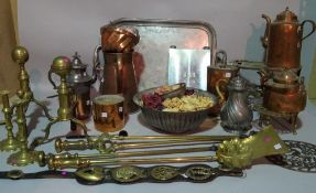Metalware collectable copper, brass and pewter, including fire dogs, kettles, trivets and sundry.