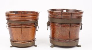 Two oak copper bound Dutch style wine coolers, 19th century,