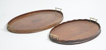 A 19th century inlaid mahogany oval serving tray, with wavy gallery, 63cm wide x 40cm deep,