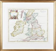 Morden, Robert. Britannia Romana. (London: c. 1695). Hand-coloured engraved map, framed and glazed.