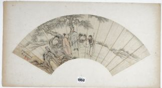 A Chinese fan painting, Qing dynasty, pen, ink and watercolour on card,