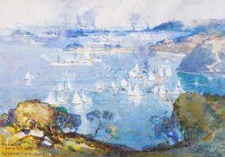 Arthur Ernest Streeton (Australian 1867-1943), Sydney Harbour, Coronation Day 1911, watercolour,