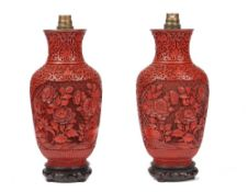 A pair of Chinese cinnabar lacquer vases (converted to table lamps),