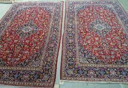 A pair of Kashan rugs, Persian,