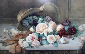 E Newcomb (British late 19th/early 20th Century) Still life of roses, a hat,