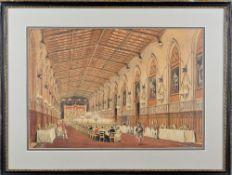 Circle of Joseph Nash; Windsor; The Garter Throne Room, Windsor, St George's Hall, Windsor,